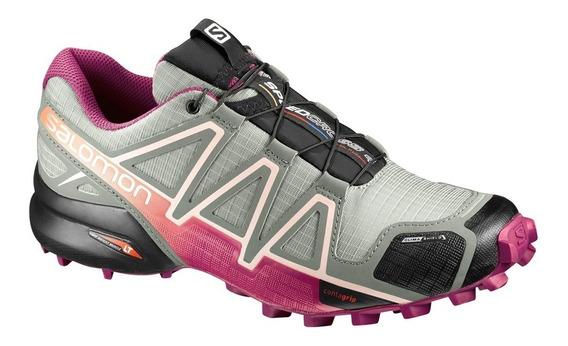 Tênis Salomon Speedcross 4 Cs Cinza E Pink Feminino Promoção