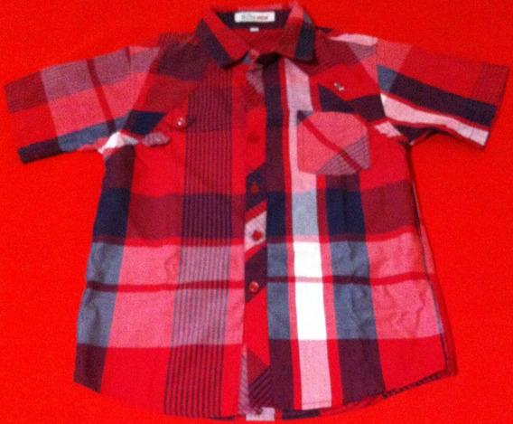 Camisa Para Niños, Color Rojo De Cuadros, Talla 10