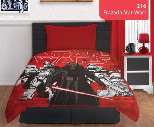 Frazada Stars Wars 1 1/2 Plaza Linea Juvenil Blanco Salo Bh