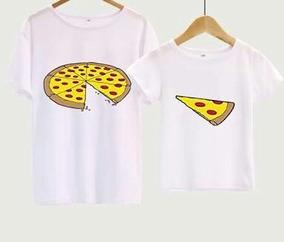 2 Playeras Pizza Rebanada Parejas Sublimación Alta Calidad