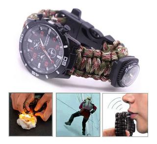Reloj Táctico Militar Supervivencia Malla Paracord Colores
