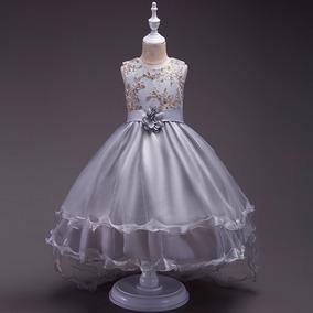 Vestido Infantil Festa Daminha Com Calda Bordado Casamento