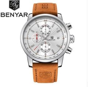 Relógio De Luxo Masculino Analógico Benyar By-5102m Couro