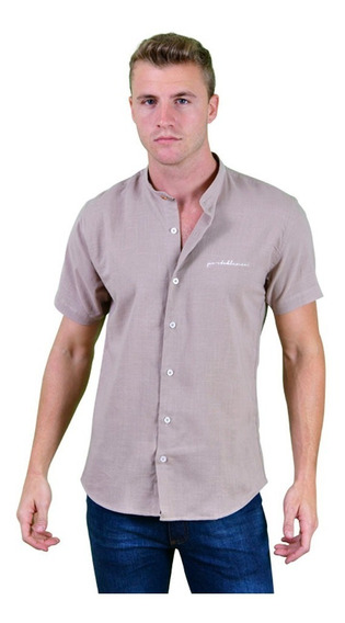 Camisa Lino Portoblanco Manga Corta Beige Mao Mc-758