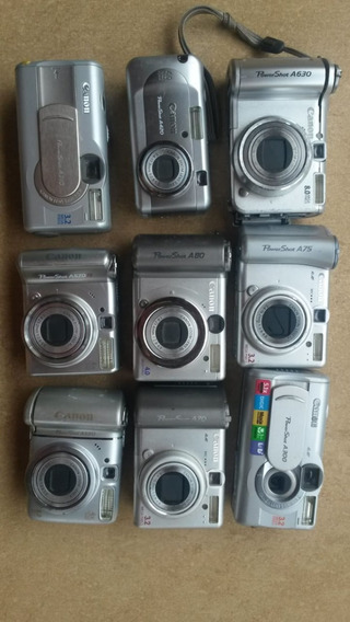Lote 10 Câmeras Digitais Canon C/ Defeito P/ Retirar Peças