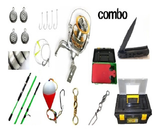Combo Kit Pesca Reel + Caja Super Completa + Caña 2.40
