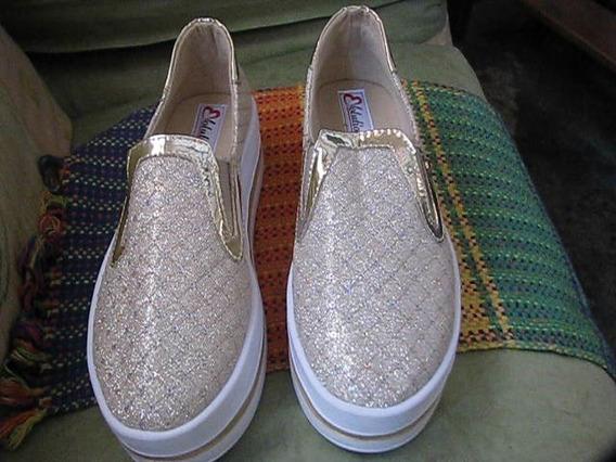 Zapatos Dorados Escarchados Colombianos