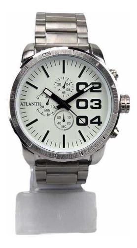 Relógio Atlantis Original Masculino Social Prateado
