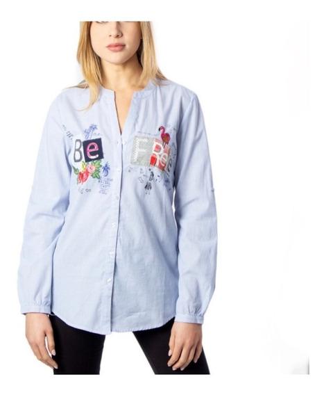 Blusa Desigual Mujer Camisa Azul Primavera