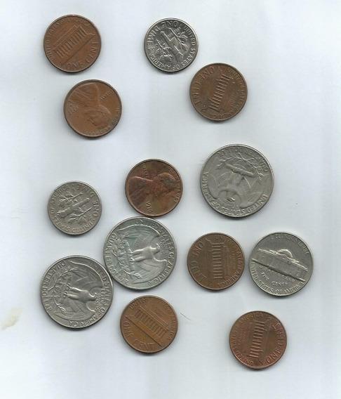 Monedas De 1 Cent 5, 10 Y 25 Cents Dolar Lote De 13 U