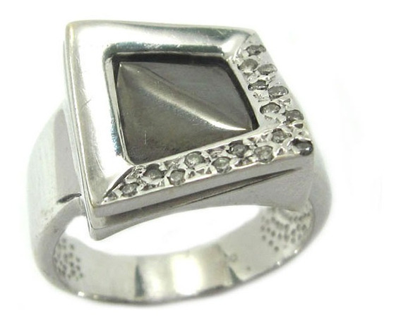 Joianete A8980-72543 Anel Quadrado Ouro Branco Diamantes
