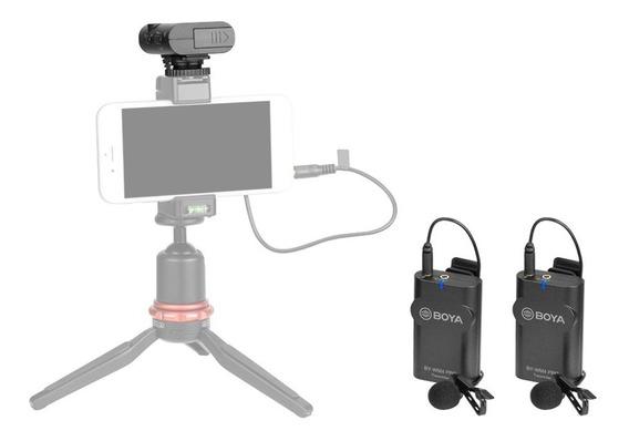 Microfone Lapela Duplo Sem Fio P/ Smartphone E Câmeras Boya