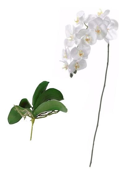 Orquidea + Folhas Artificiais Toque Real Tipo Silicone Flor