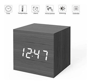 Micar Reloj Despertador Digital Con Luz Led De Madera Mini R