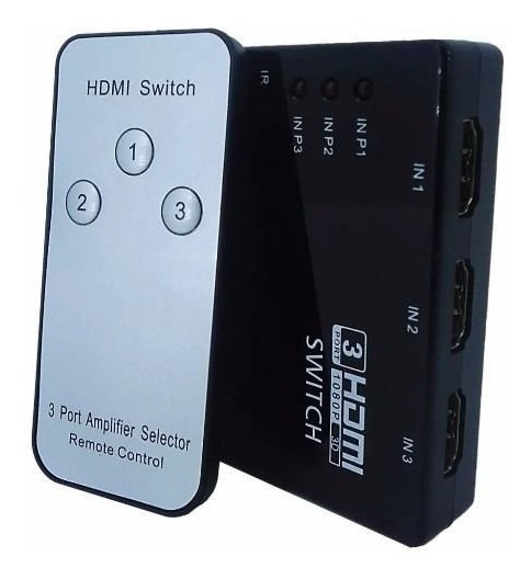 Hub Switch Hdmi 3 Portas Splitter Full Hd + Controle Remoto