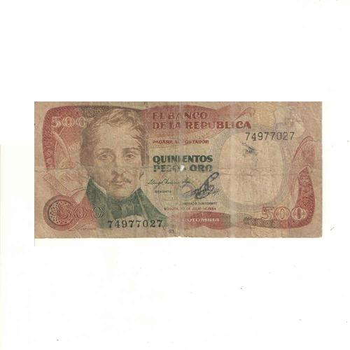 Imagen 1 de 2 de Billete De 500 Pesos Oro De Colombia