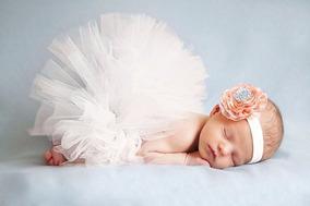 Saia Tutu + Tiara Fantasia P/ensaio Fotográfico Bebê Newborn