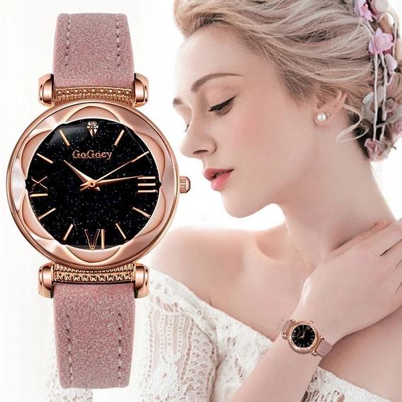 Relógio De Pulso Feminino Dourado E Rosa Estelação Quartzo