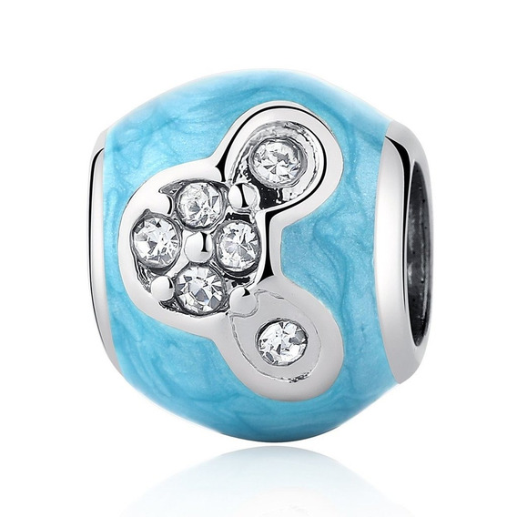 Charme Prata Azul Mickey Cravejado De Zircônia