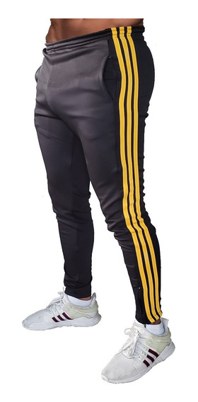 Pants Para El Gym Con Cierres Slim Fit 3 Franjas Uso Rudo