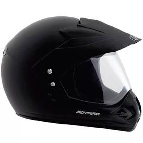Capacete Ebf Motard Moto Cross Preto Viseira 2mm Segurança
