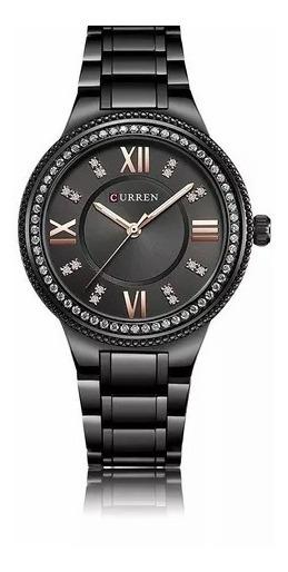 Relógio De Pulso Feminino Curem 9004 Com Pedrarias Elegante