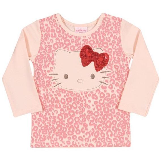 Blusa Manga Longa Em Cotton Light - Rosa Bebê - Hello Kitty