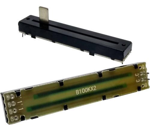 Imagem 1 de 1 de 2 Unids Potenciômetro Deslizante Stereo B100k2 88mm X 60mm