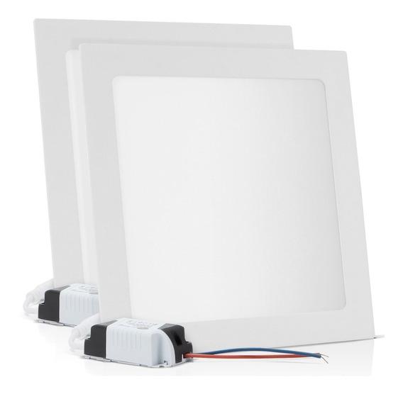 Kit 2 Painel Plafon Embutir 25w Led Quadrado Branco Frio