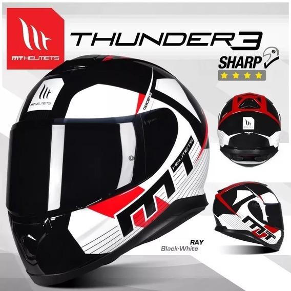 Capacete Moto Fechado Mt Thunder 3 Ray Preto/branco Fosco