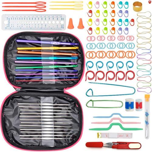Imagen 1 de 9 de Kit 140 Piezas 22 Agujas Crochet Metálicas + Accesorios