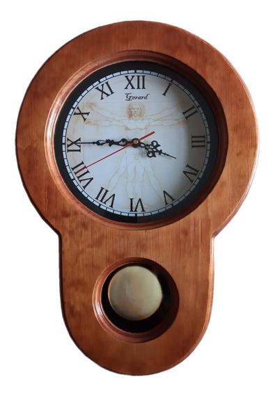 Reloj De Pared De Péndulo Artesanal Modelo Da Vinci (a)