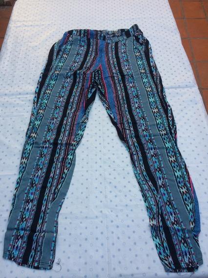 Pantalon Bahiano Mujer Fibrana Azul Talle 2 O 38