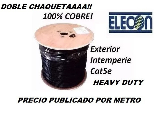 Cable Utp Cat5e Intemperie Doble Chaqueta Por 10mts Elecon