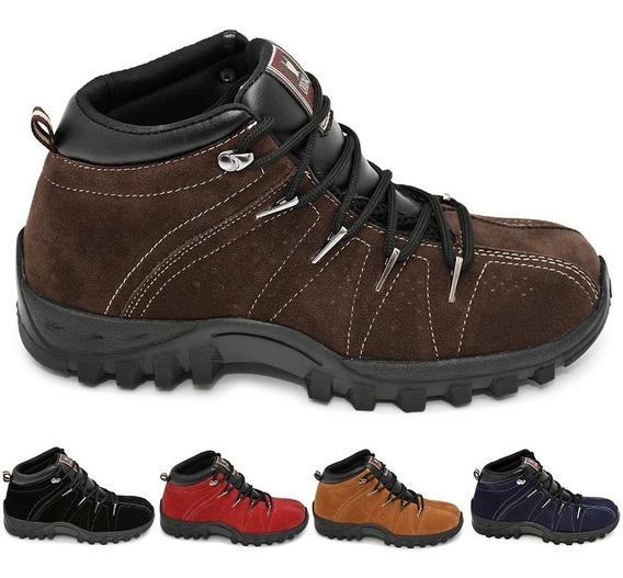 Bota Camurça Legítima Adventure Sapato Tênis