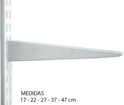 Mensula Metalica - Reforzada - 17cm Doble Enganche Para Riel