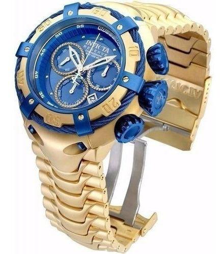 Relógio Masculino Dourado Grande Thunder Frete Gratis Novo