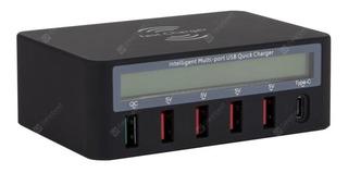 Carregador Com 6 Portas Usb Com Visor Digital - Qc3.0