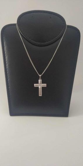 Corrente Cordão Aço Inox Crucifixo Masculino Place Jóias