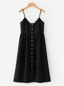 Vestido Midi Com Botões Frontais Blusa Feminina
