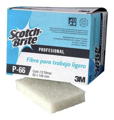 Imagen 1 de 1 de Caja 12 Piezas Fibra Blanca 3m Scotch Brite P-66