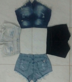 Shorts Jeans Femininos Customizados Com Lycra Cintura Alta