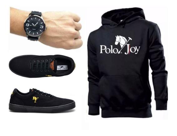 Tenis Masculino + Relógio + Moletom Envio Já Polo Joy