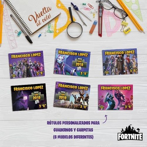 Kit Etiquetas Fortnite Escolares Personalizadas Imprimible
