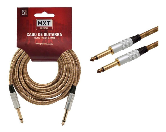 Cabo Para Guitarra Violão 5m Metros Blindado P10 P10 Têxtil