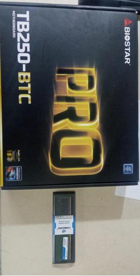 Kit Placa Mãe Biostar Tb250-btc +ddr4 4gb 2400ghz Novo Caixa
