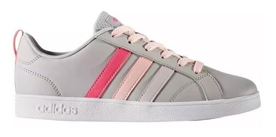 Tenis Para Niña adidas Gris Con Rosa Advantage K Cg5691