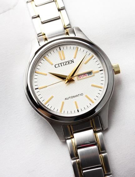 Relógio Citizen Feminino 2 Tons Branco Dourado Automatico