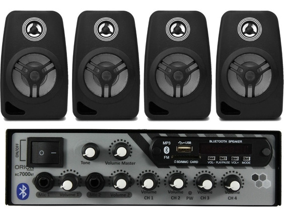 Kit Som Ambiente 500 Watts Bluetooth +4 Caixas Parede Pretas