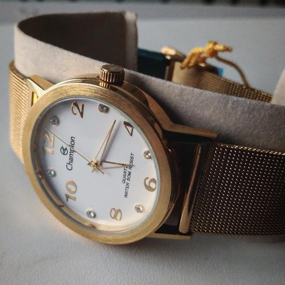 Kit 5 Relógio Ajustável De Pulso Analógico Champion Dourado